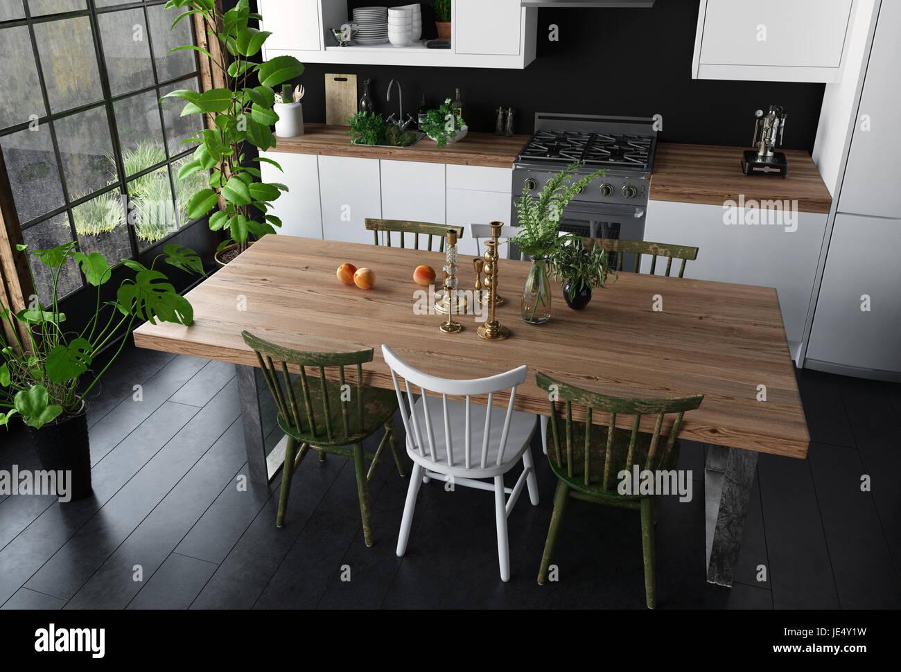 Table à manger avec surface en bois et des chaises dans la cuisine ...