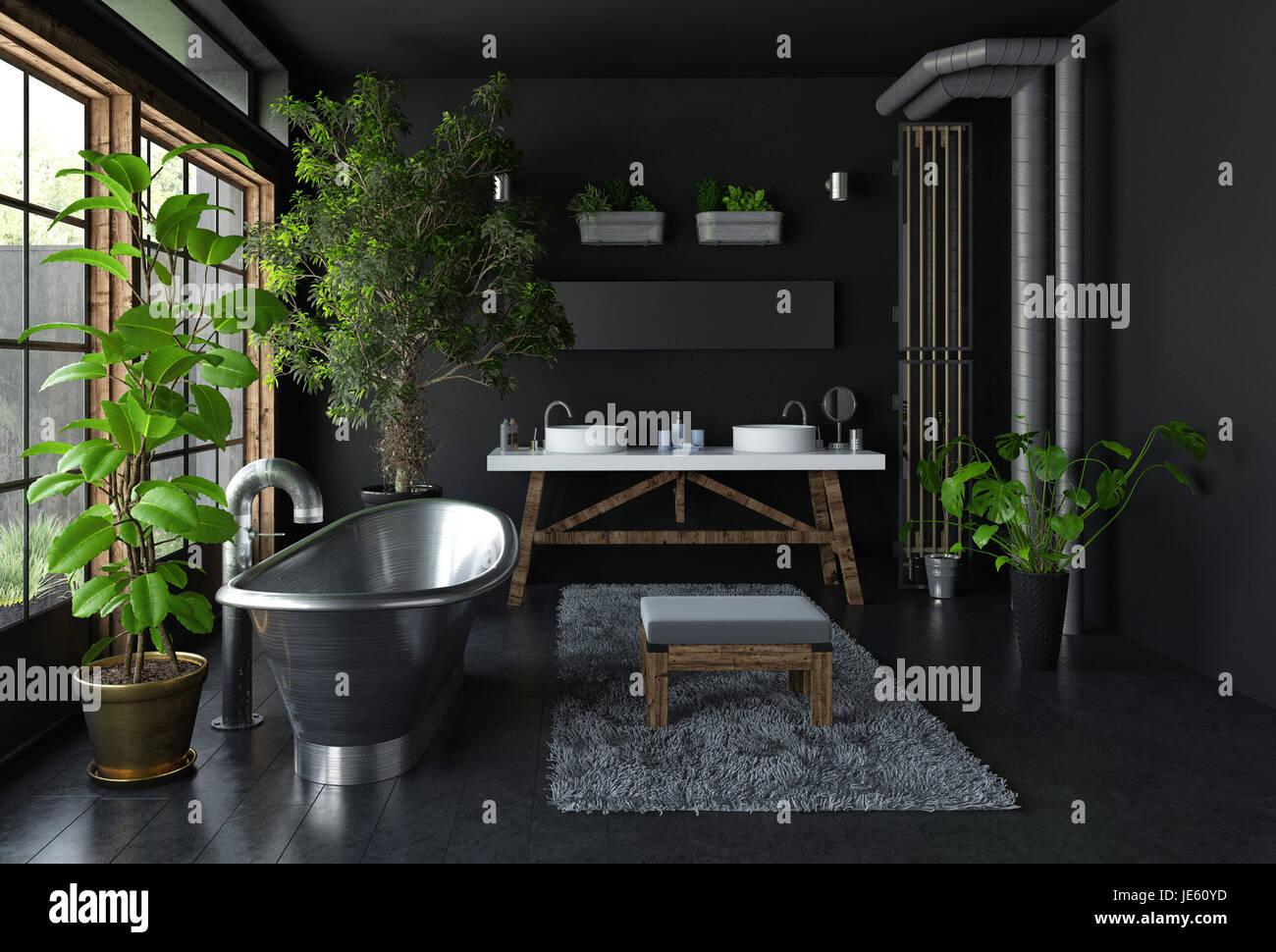 Plante Pour Cuisine Sombre salle de bains sombre concept intérieur en métal brillant