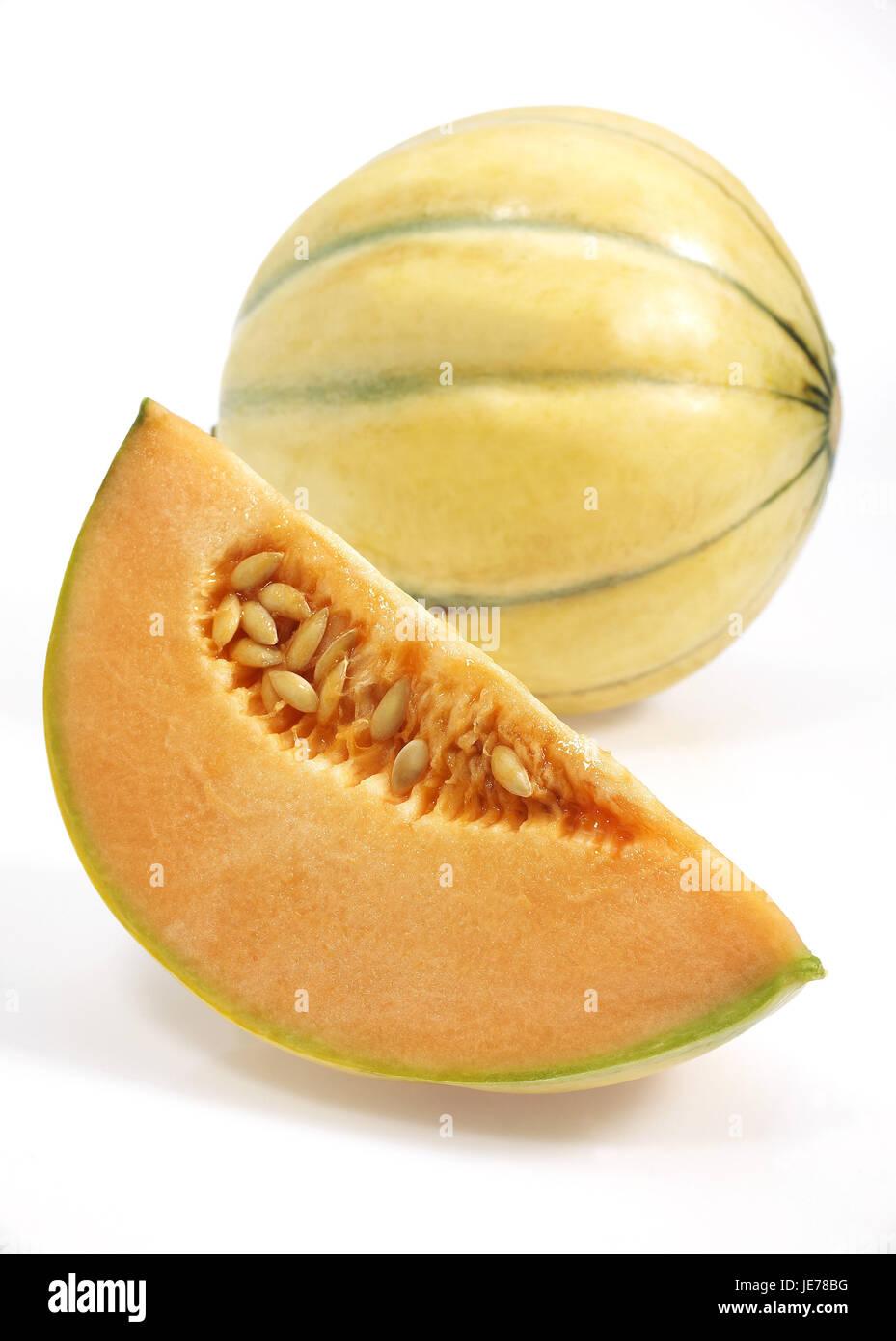 Le melon canari jaune, jaune aussi melon de miel, Amarillo, Amarillo Tendral, sucre melon, Cucumis Melo, fond blanc, Photo Stock