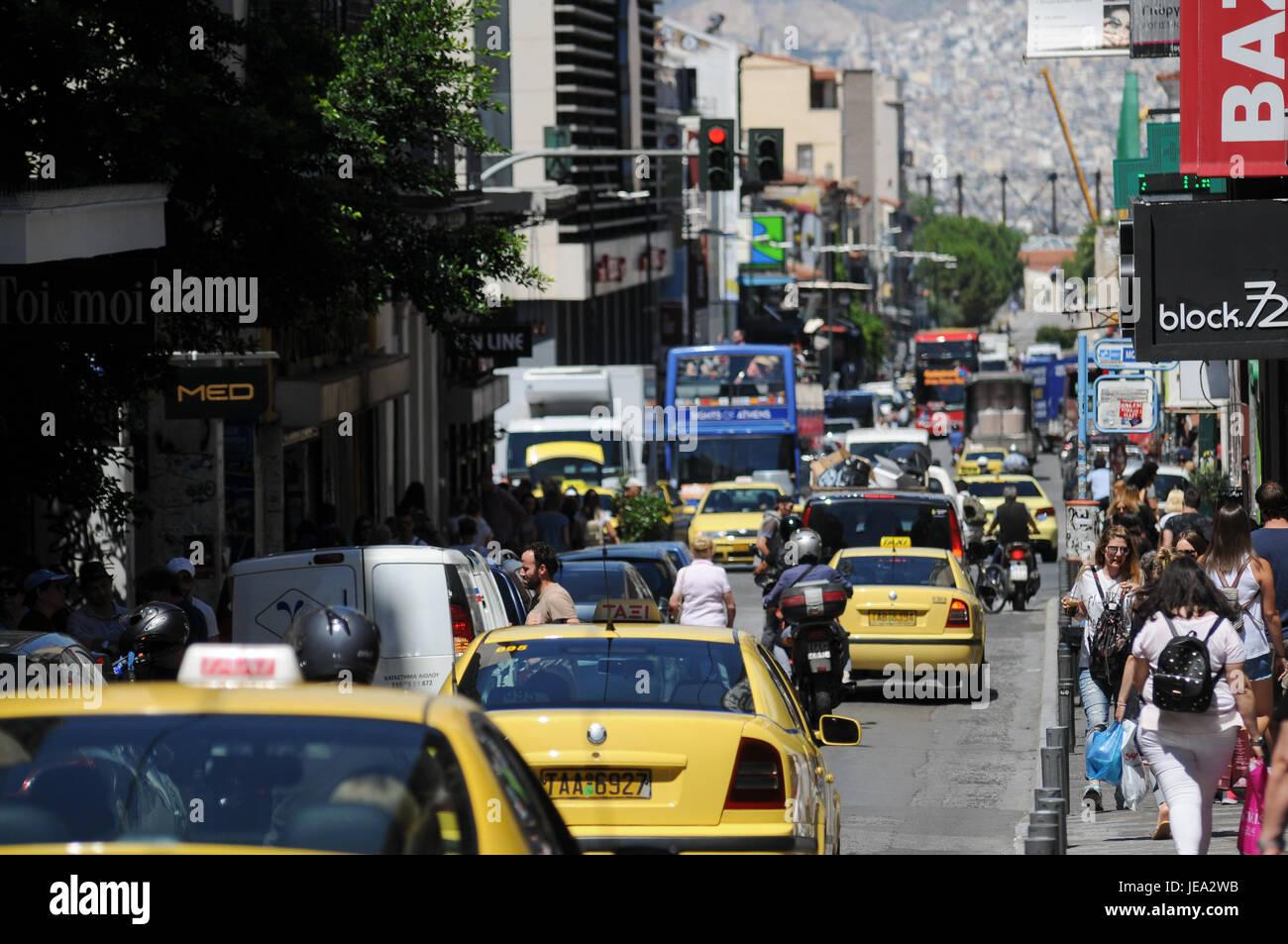 Vue générale du quartier de Monastiraki, Athènes (Grèce) Photo Stock
