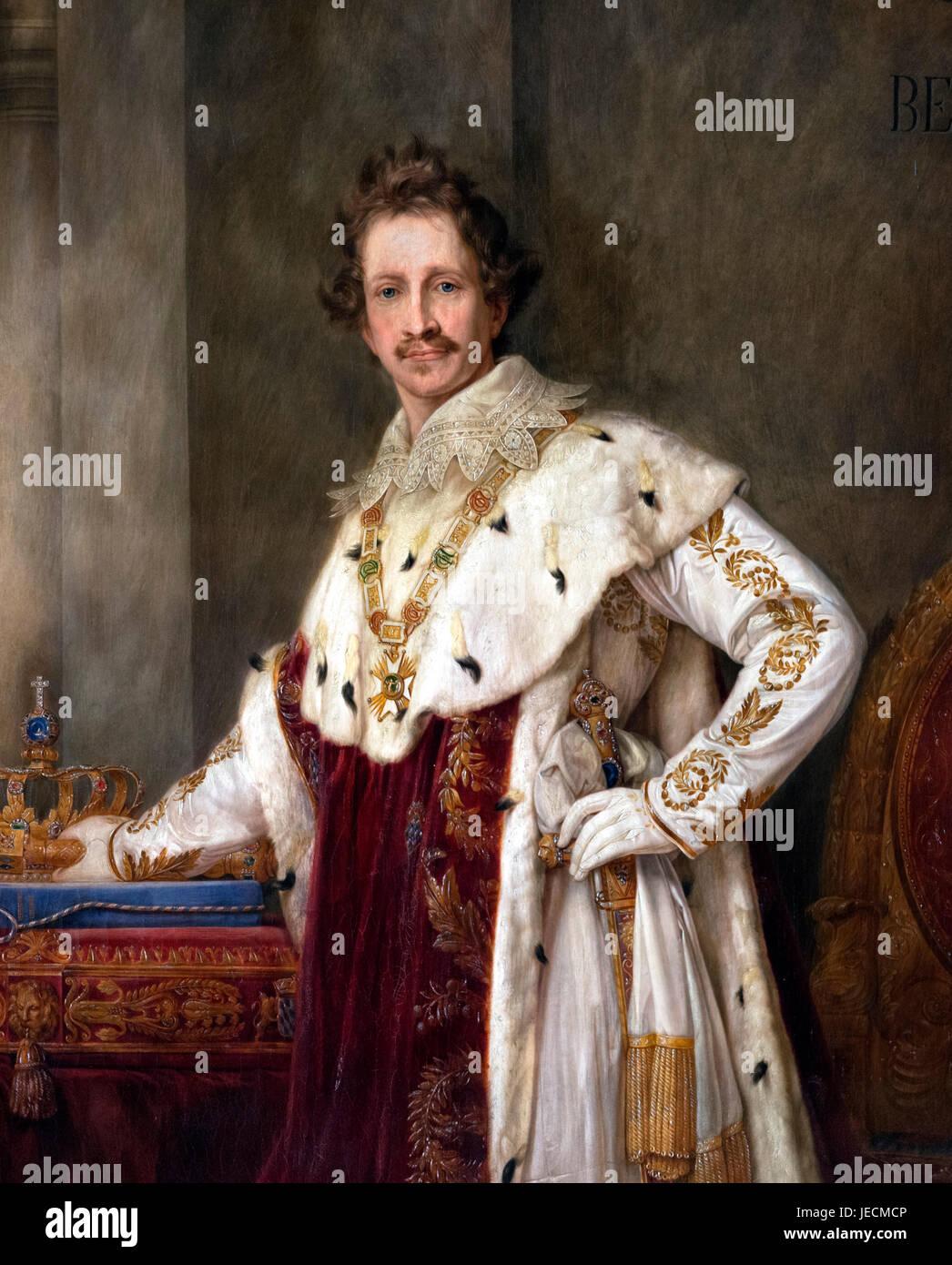 Le roi Louis I (1786-1868), roi de Bavière de 1825 à 1848. Portrait du couronnement par Joseph Stieler, Photo Stock
