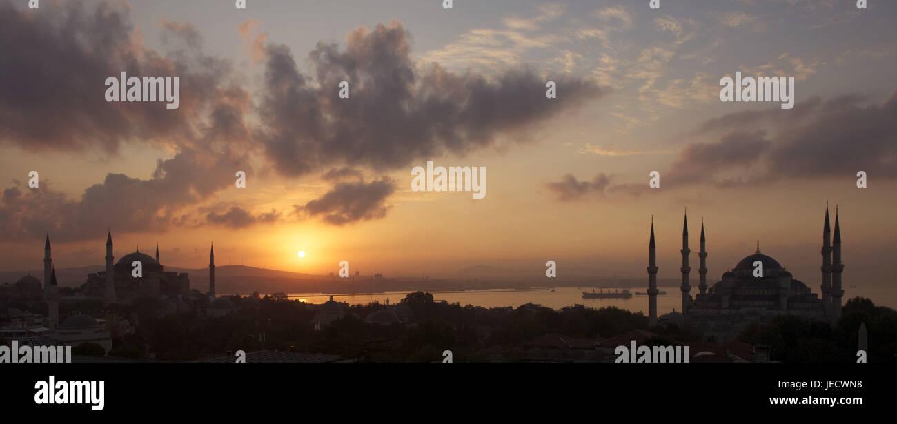 La Turquie, Istanbul, Vieille Ville, Quartier de la ville de Sultanahmet, Sainte-Sophie, la mosquée bleue dans le Banque D'Images