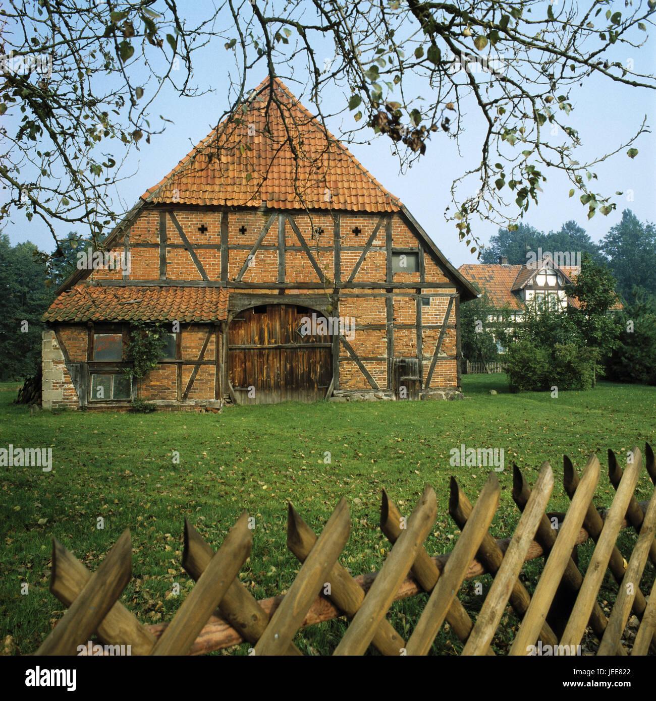 Allemagne Basse Saxe Nid Ferme En Pierre Toit De Chaume