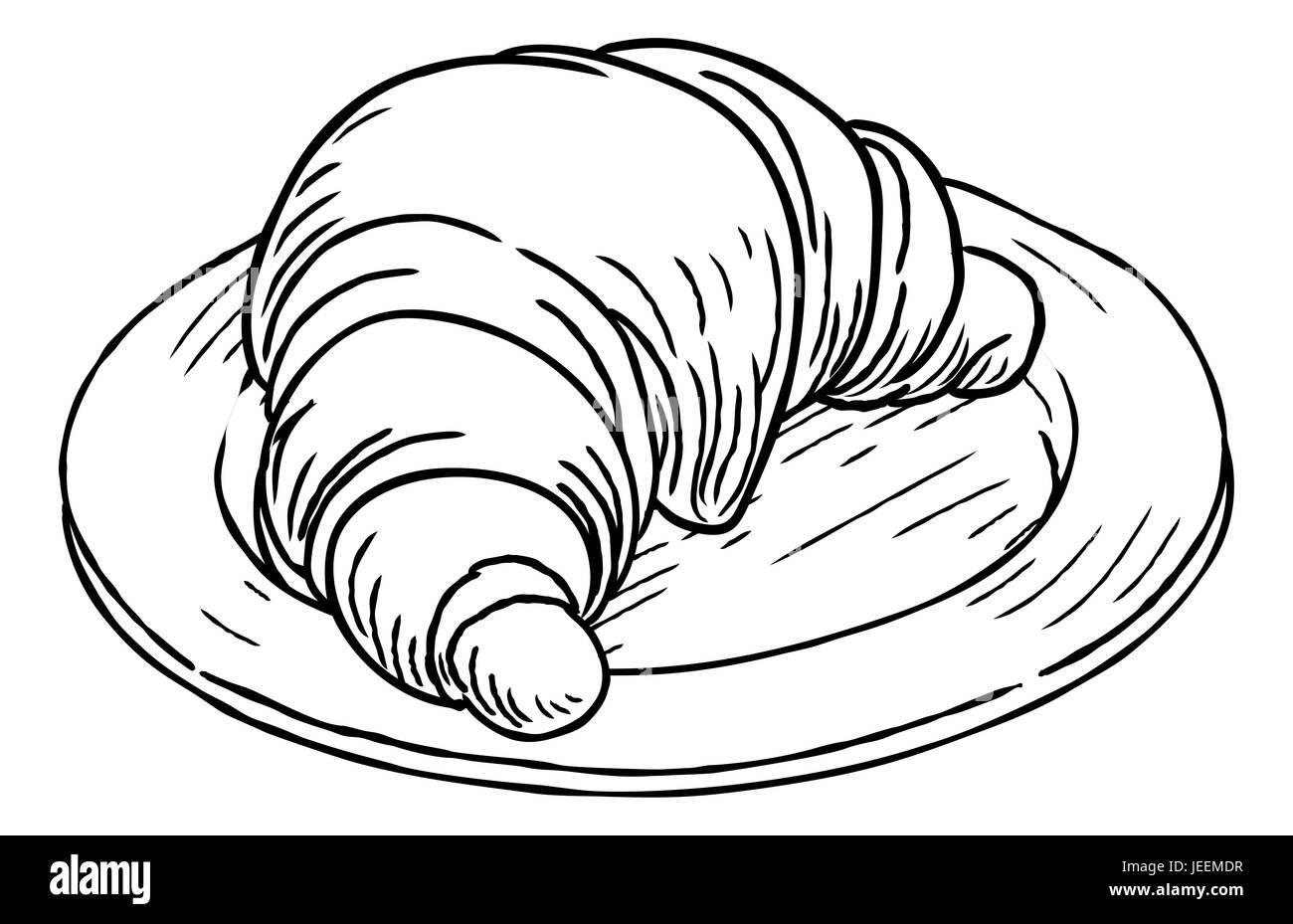 Un Croissant La Pâtisserie Française Part Dessiner Dans Un