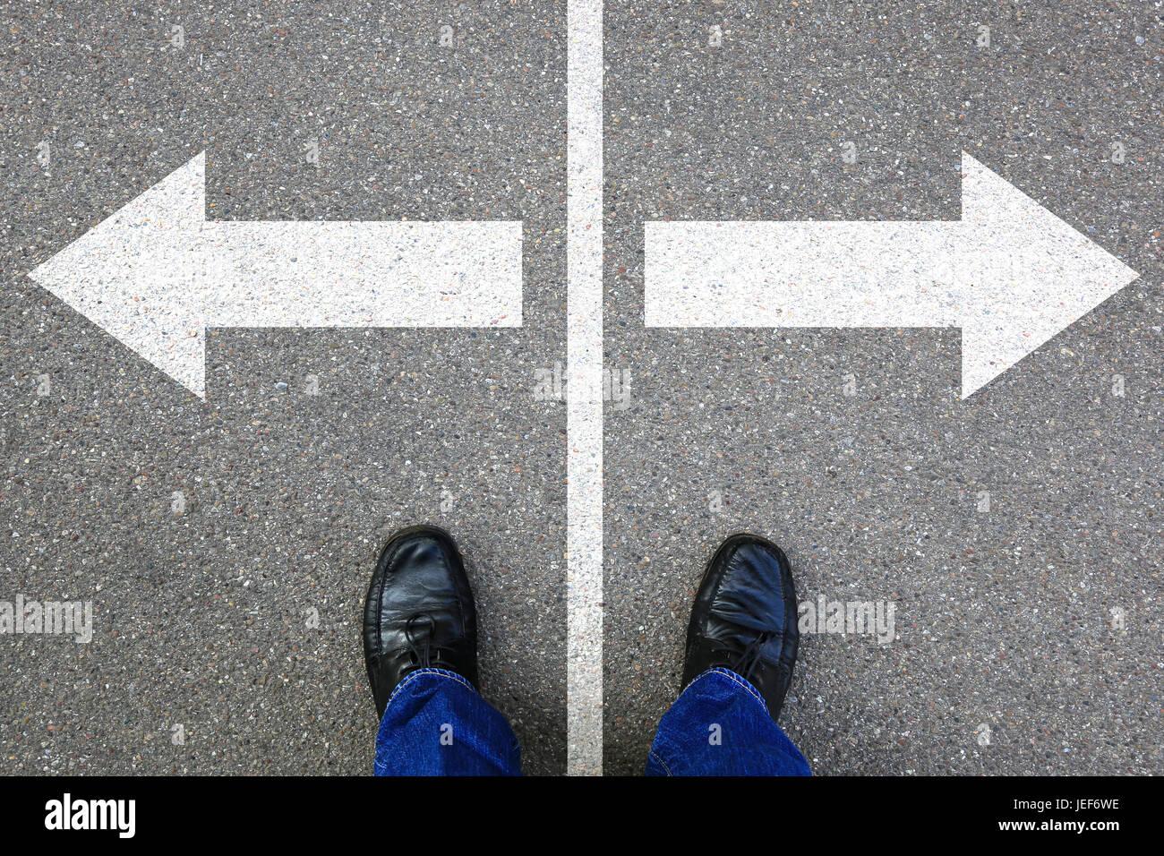 Décision décider d'objectifs d'affaires solution succès travail emploi choix Banque D'Images