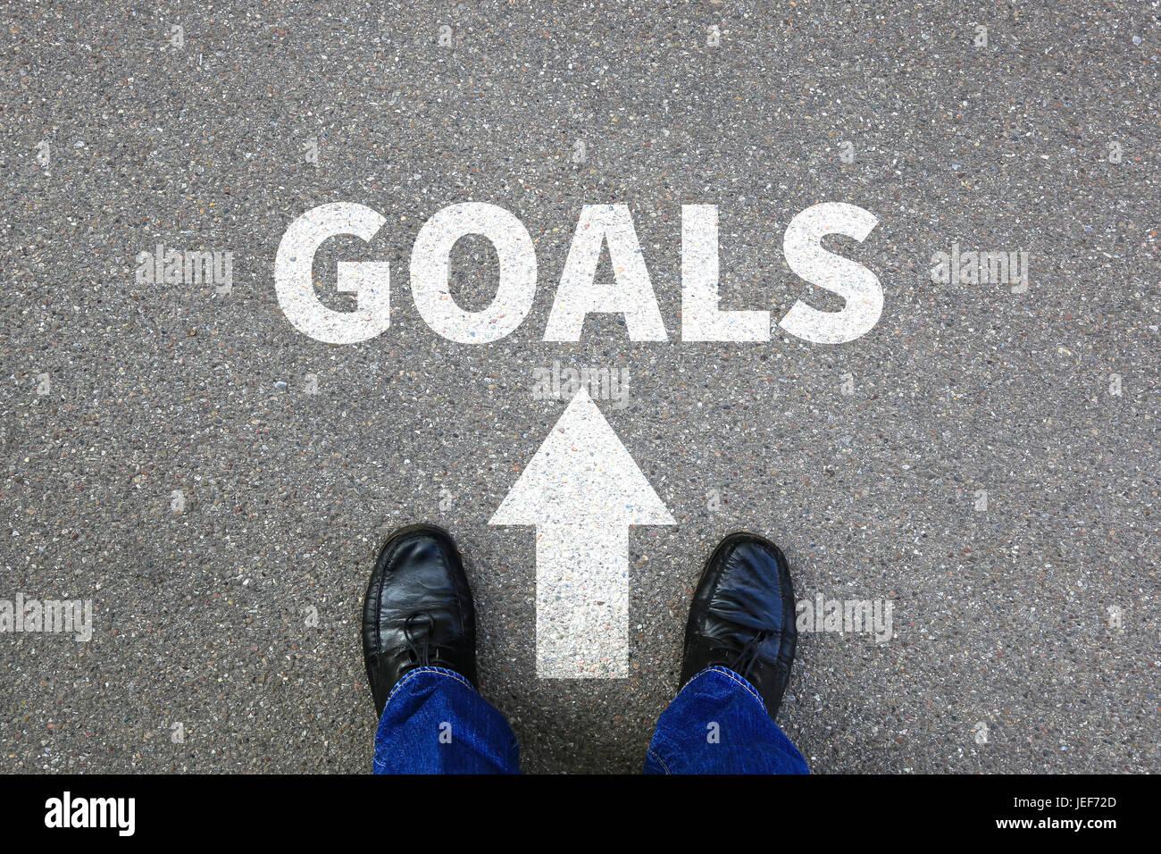 Objectifs Objectif Création de nouvelles aspirations de réussite future stratégie d'affaires Photo Stock