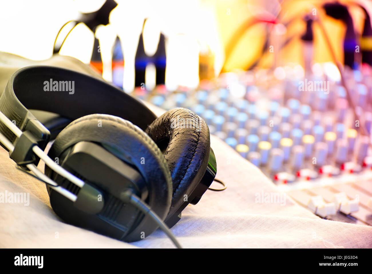 Les écouteurs avec profondeur de champ Photo Stock