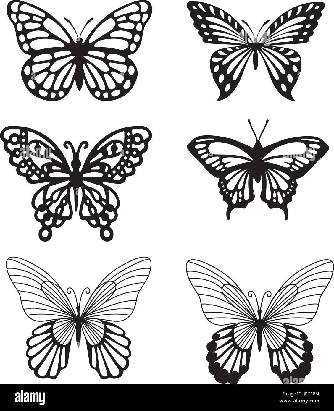 Silhouette en noir et blanc de papillons. Photo Stock