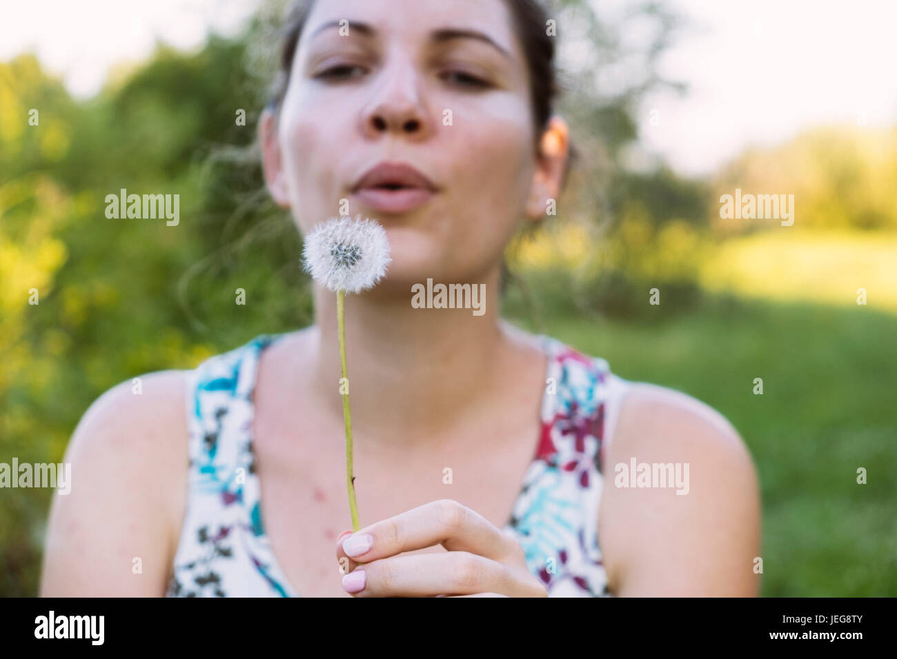 Woman blowing dandelion Photo Stock