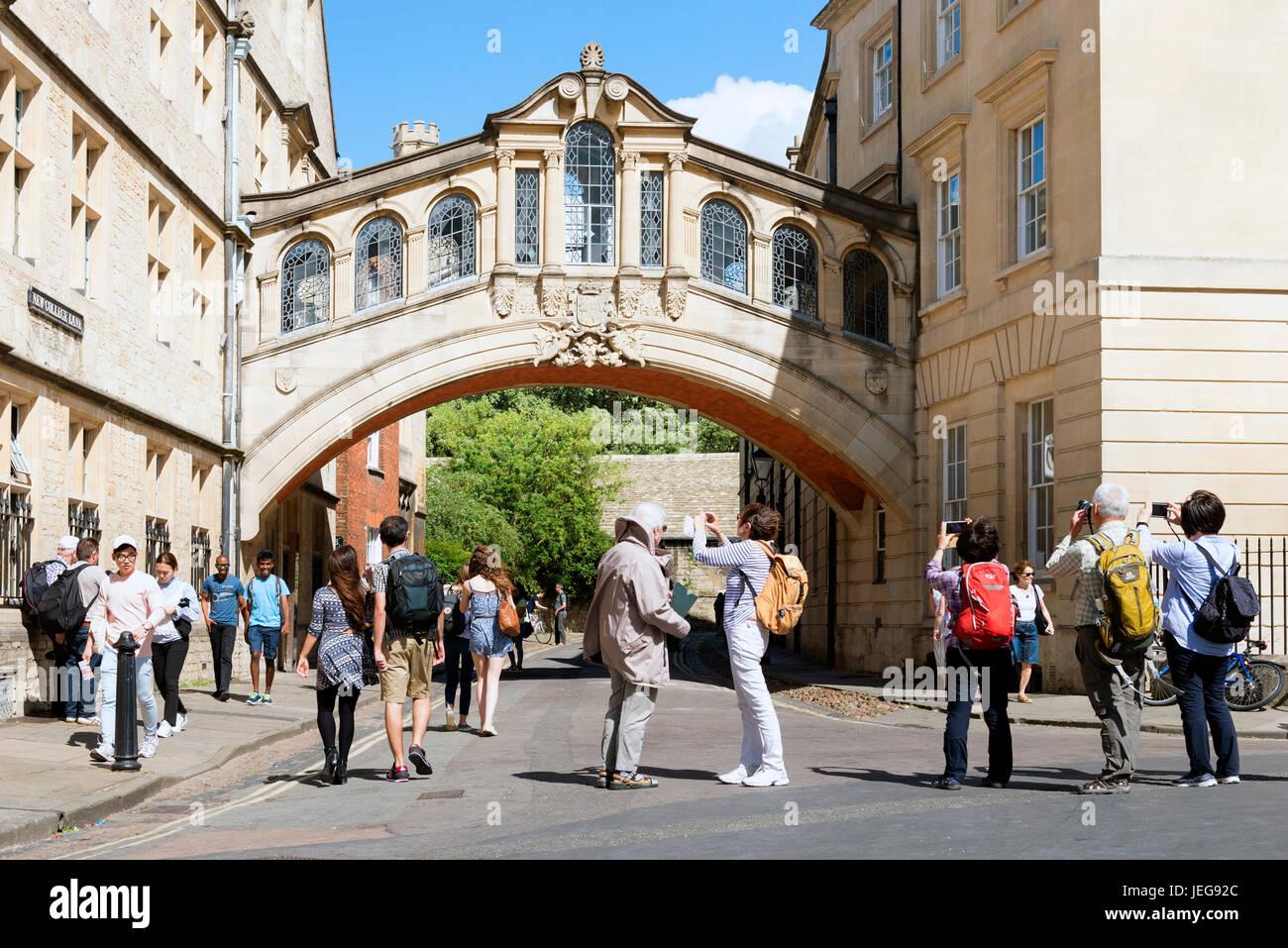 Pont des Soupirs, le Centre d'Oxford, Royaume-Uni. Banque D'Images