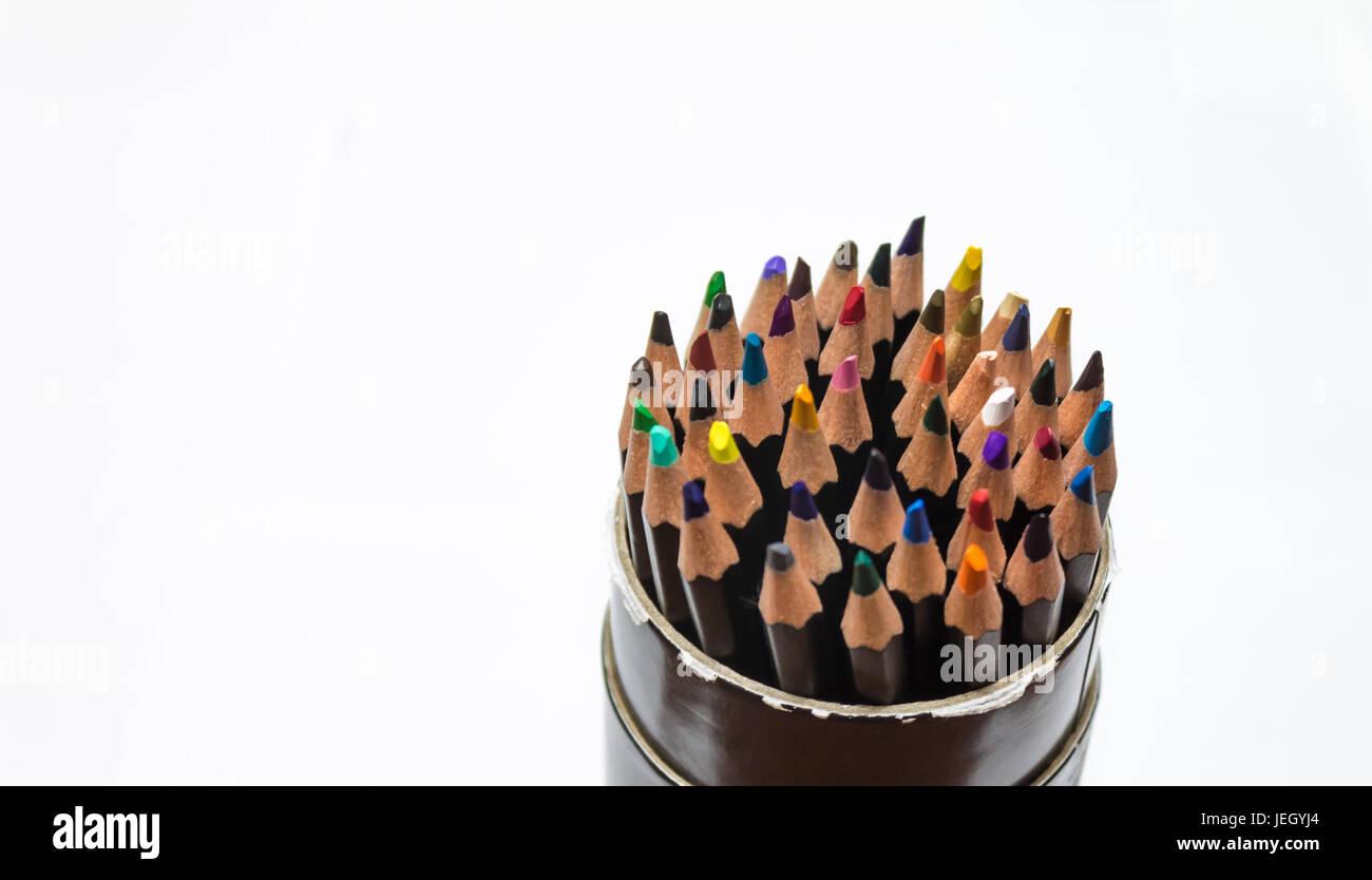 Close up de conteneur au crayon de couleur Photo Stock