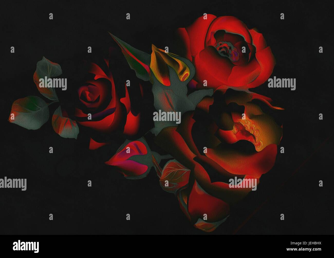 Dessin Abstrait De Roses Dans Le Neon Rouge Fonce Sur Ton Fond