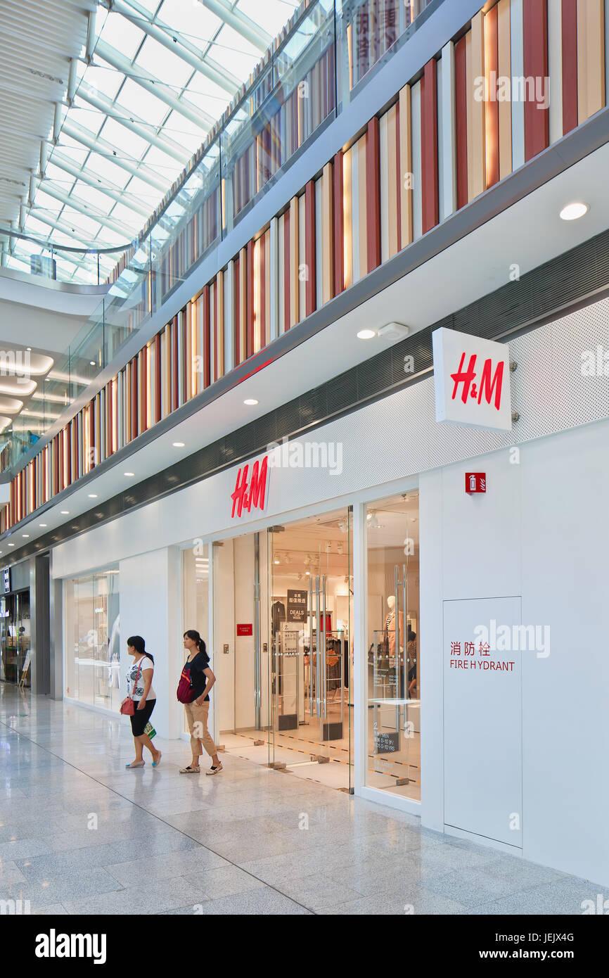 À BEIJING, le 21 août 2015. H&M Livat sortie shopping mall. Détaillant H&M fait une grande Photo Stock