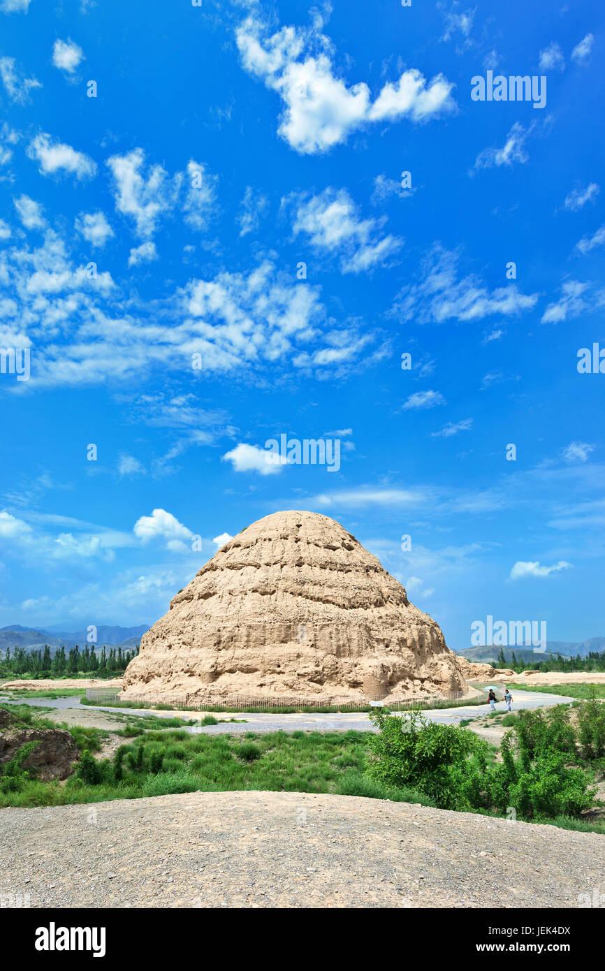 L'Ouest Xia Tombes impériales à Yinchuan, Ningxia Province, China Banque D'Images