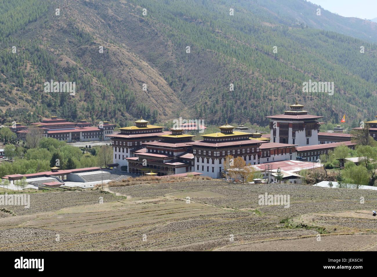 Tashichho dzong monastère, Thimphu, Bhoutan, Asie Photo Stock
