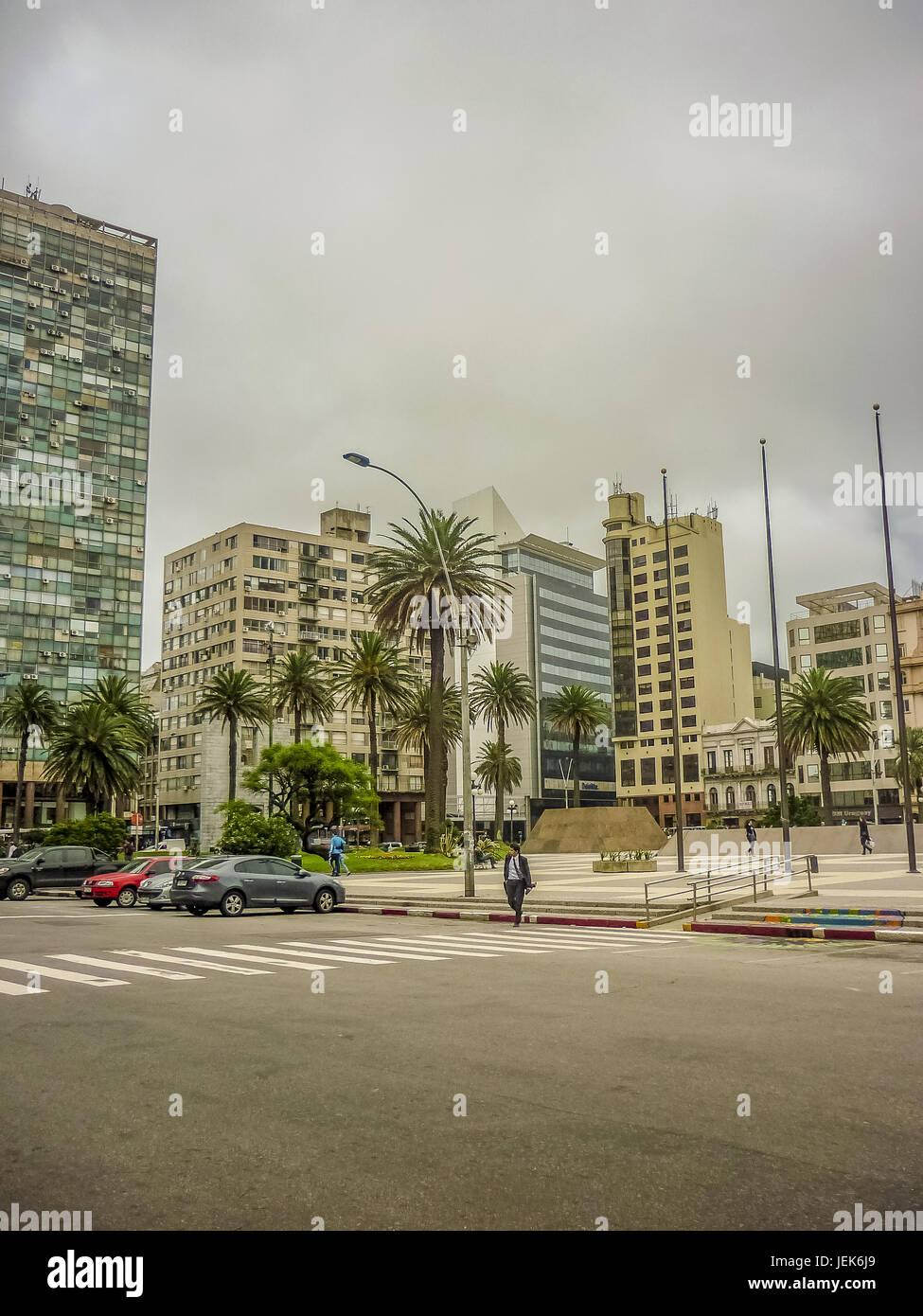 Place de l'indépendance de Montevideo Photo Stock
