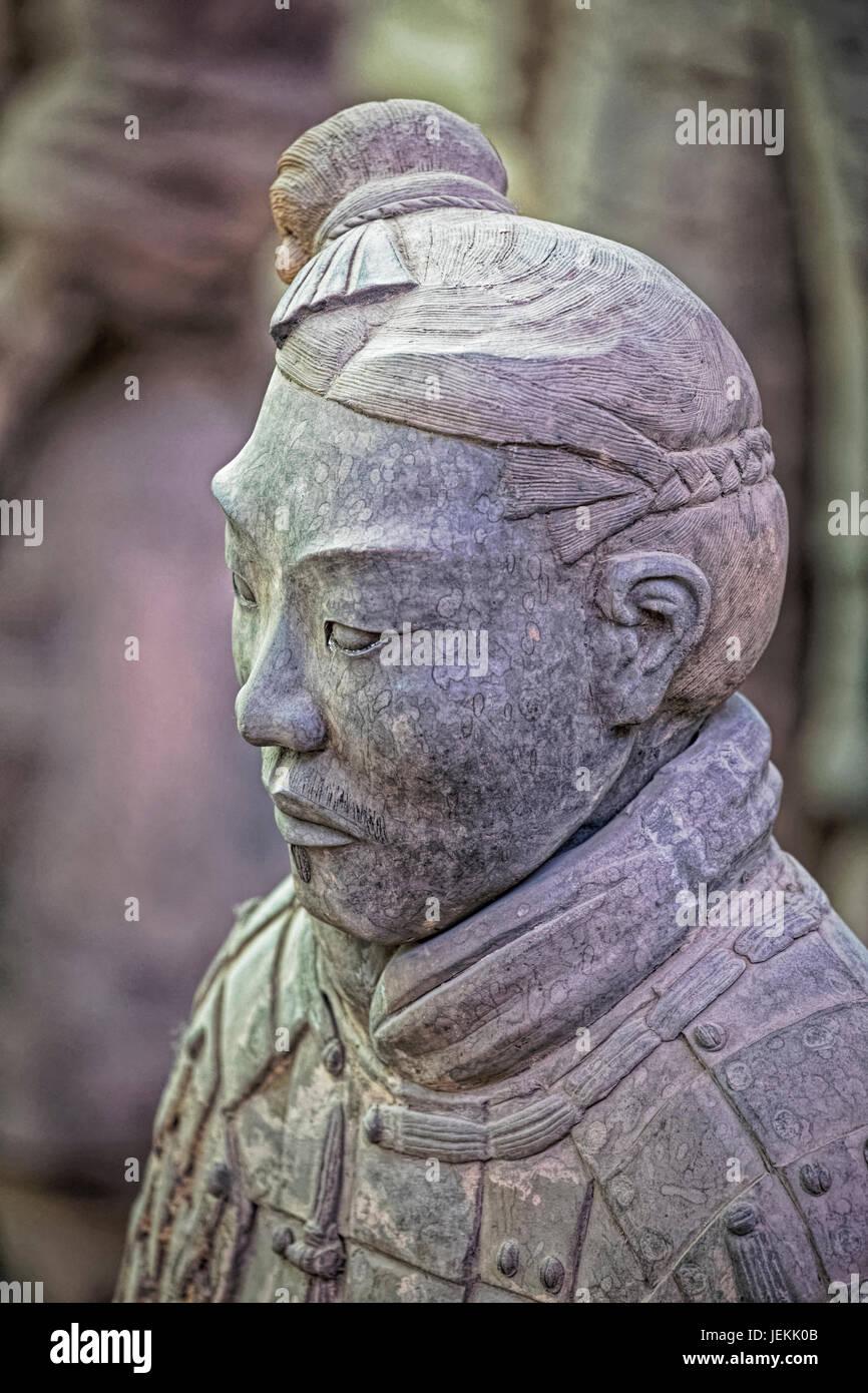La célèbre Armée de terre cuite, une partie du Mausolée du premier empereur Qin et site du patrimoine Photo Stock