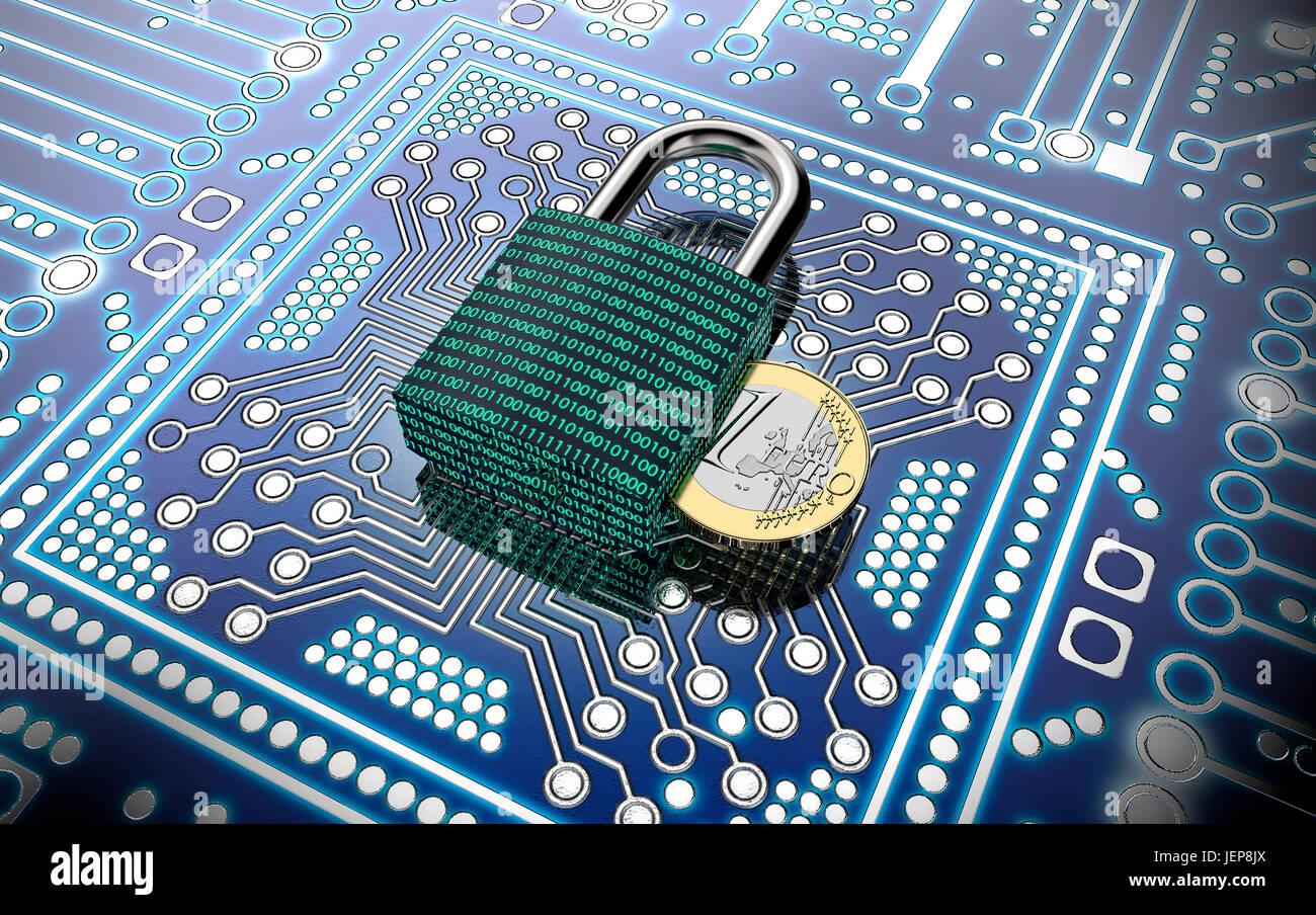 Des logiciels malveillants ou ransomware concept attaque cadenas avec de l'argent, chemin de détourage, Photo Stock