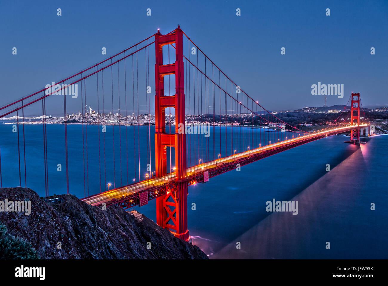 Golden Gate Bridge at Night de Marin Headlands Photo Stock