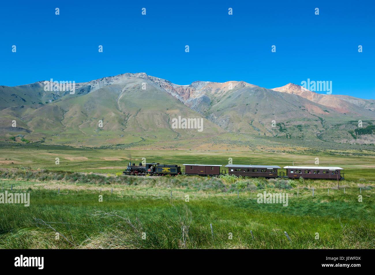 La Trochita la vieille Patagonian Express entre Esquel et El Maitén dans la province de Chubut, en Argentine, en Banque D'Images
