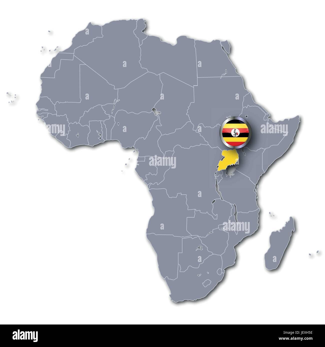 Carte Afrique Anglais.L Ouganda L Anglais Sociales De L Afrique Drapeau