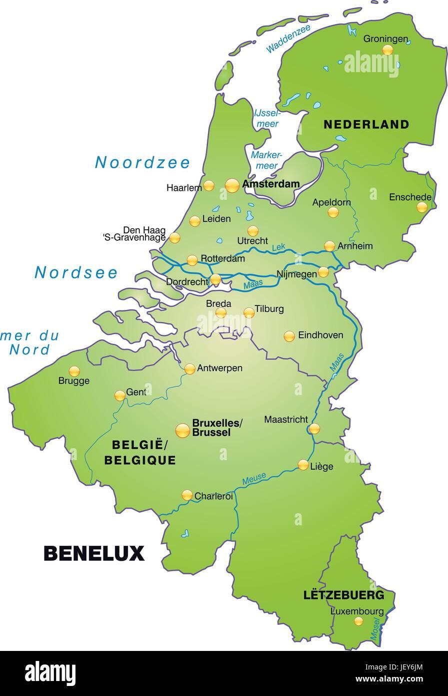 Carte Belgique Atlas.Belgique Pays Bas Benelux Carte Frontieres Frontieres