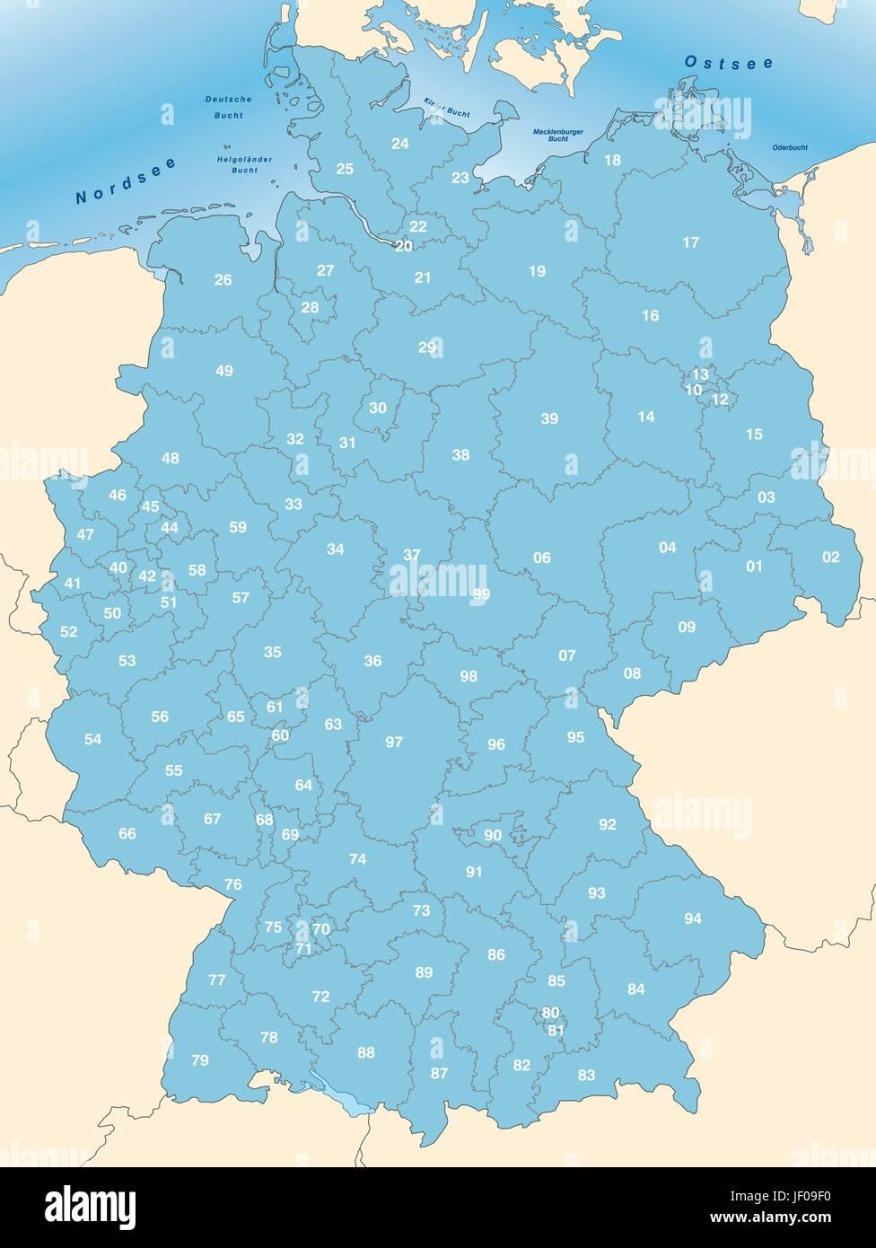 Carte Allemagne Code Postaux.Carte Mail Les Frontieres Le Code Postal Atlas Carte Du