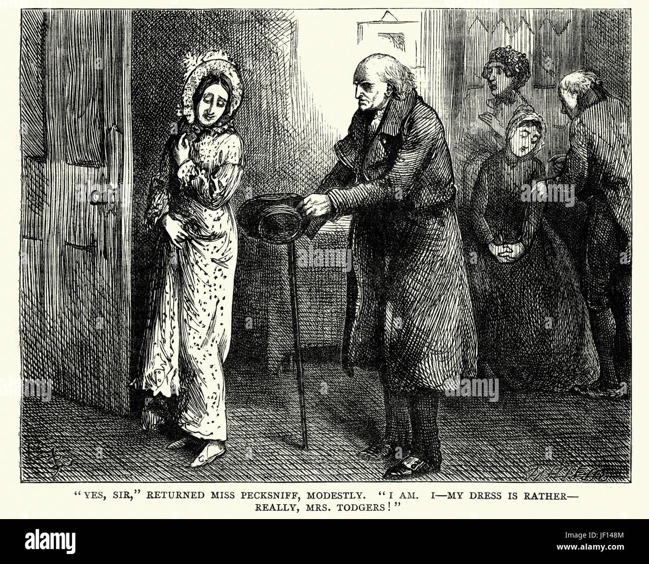 Vintange illustration d'une scène de la roman Martin Chuzzlewit de Charles Dickens. Oui, monsieur, retourné, Photo Stock