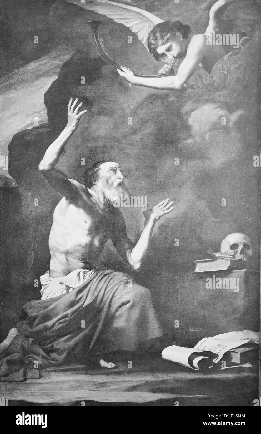 Image historique de Jérôme, Eusebius Sophronius Hieronymus d Spagnletto, 347 - 420, un prêtre, confesseur, Photo Stock