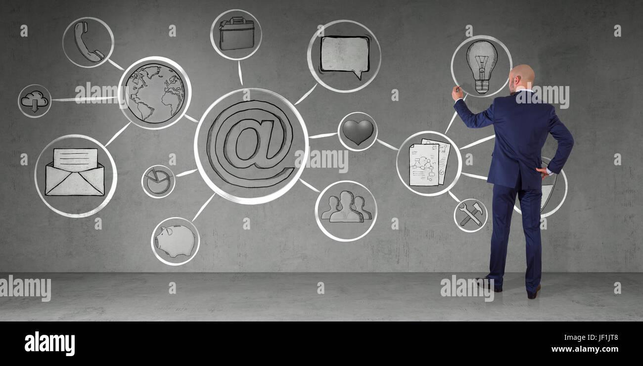 En homme d'intérieur moderne interface multimédia dessin croquis sur un mur 3D Rendering Banque D'Images