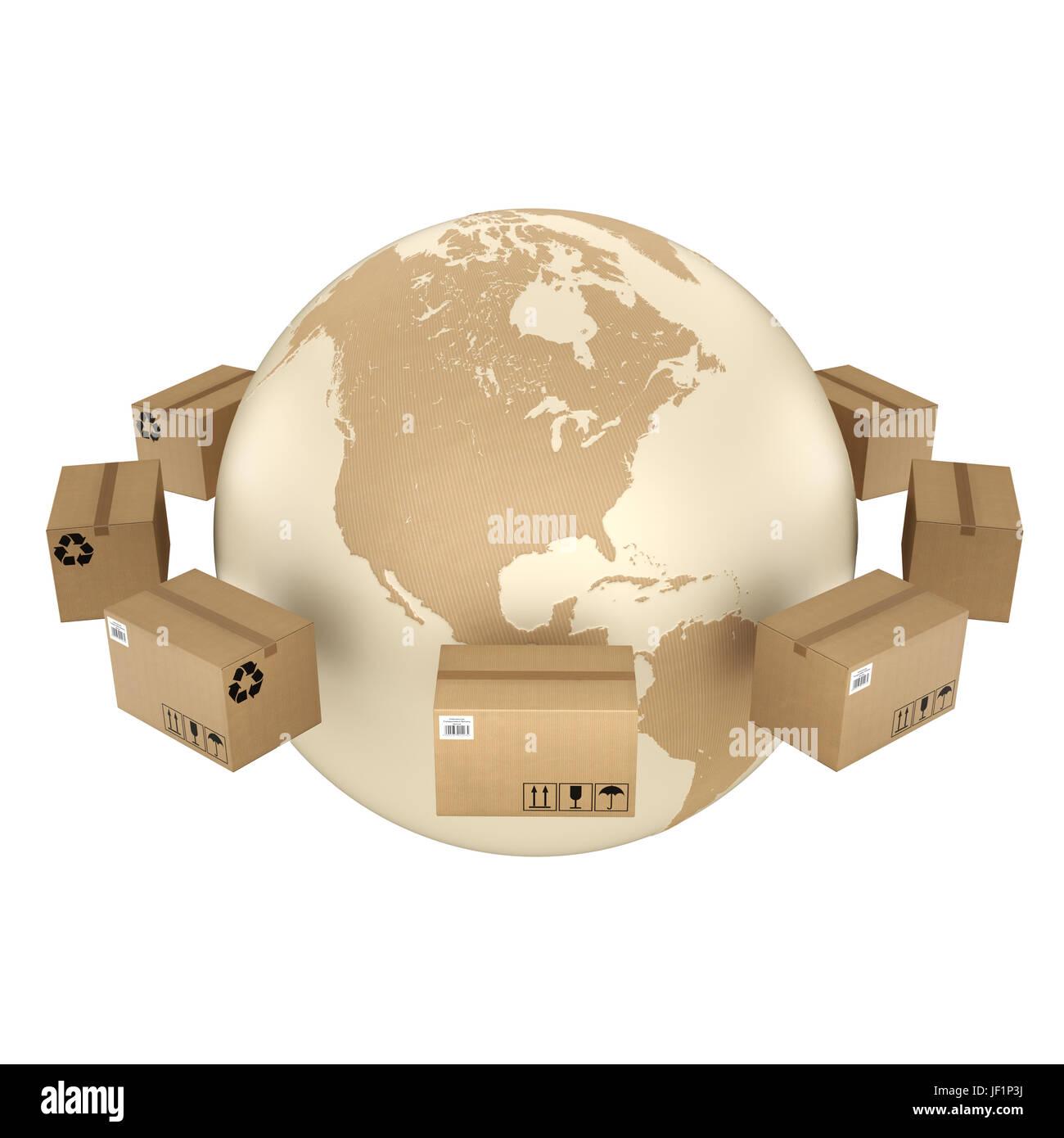 Boîte en carton de rendu 3D Banque D'Images