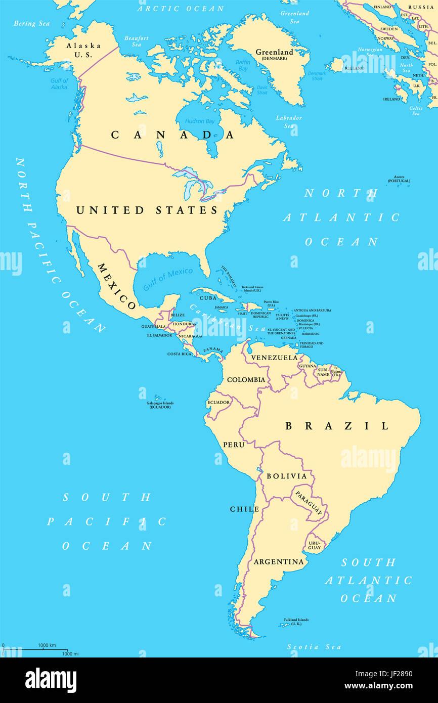 Carte Damerique Du Sud Avec Les Pays.Les Ameriques L Amerique Du Nord Et Du Sud Une Carte Politique