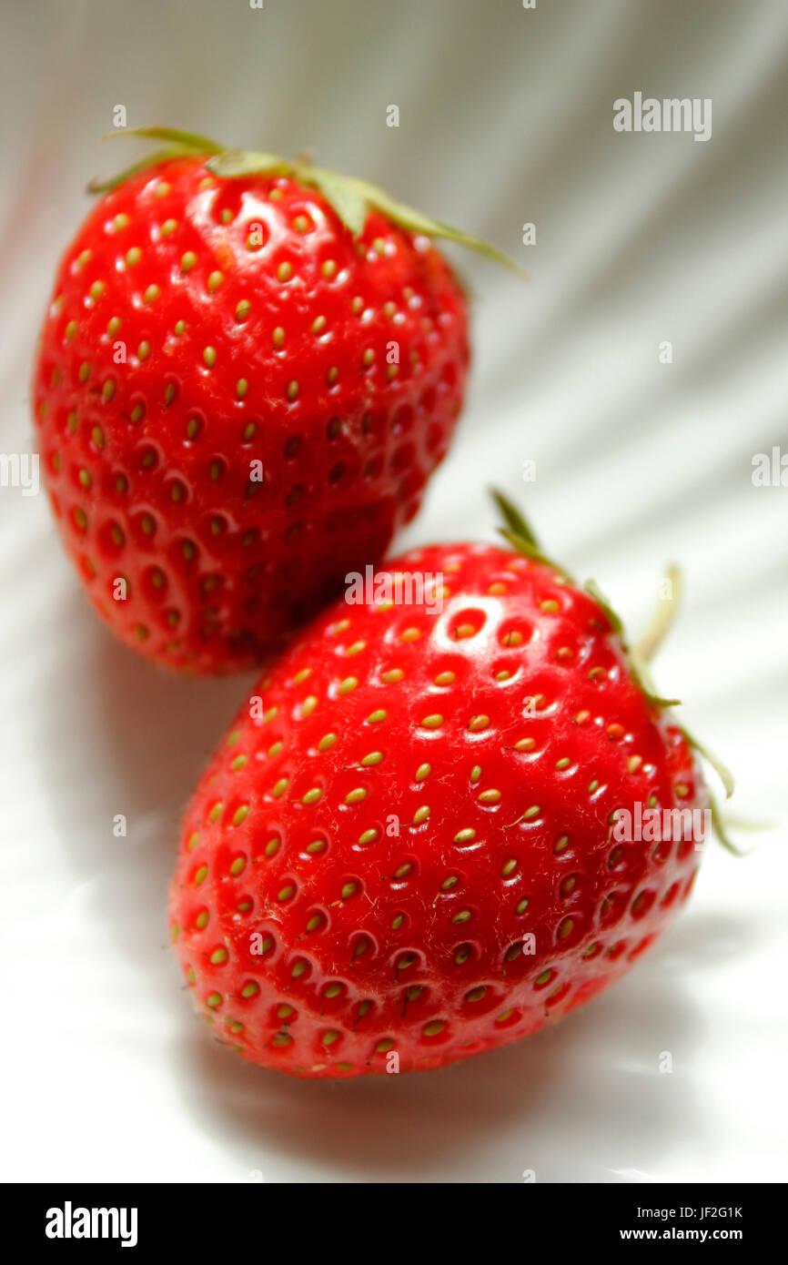 Deux fraises juteuses anglais fraîchement cueillies Photo Stock