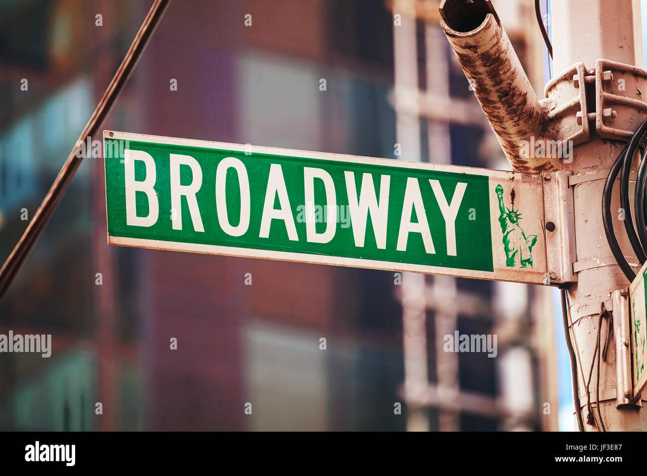 Signe de Broadway à New York City, USA Photo Stock