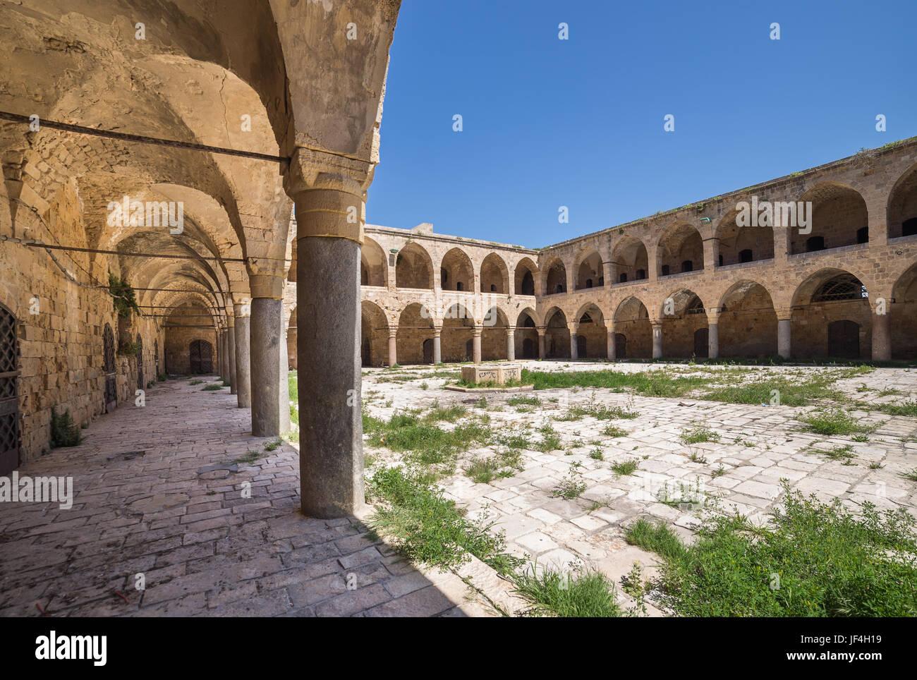 Khan al-Umdan Colonnade en Acre, Israël Photo Stock