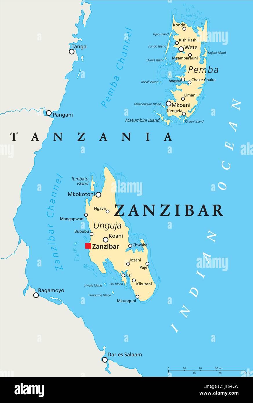 Zanzibar carte du monde