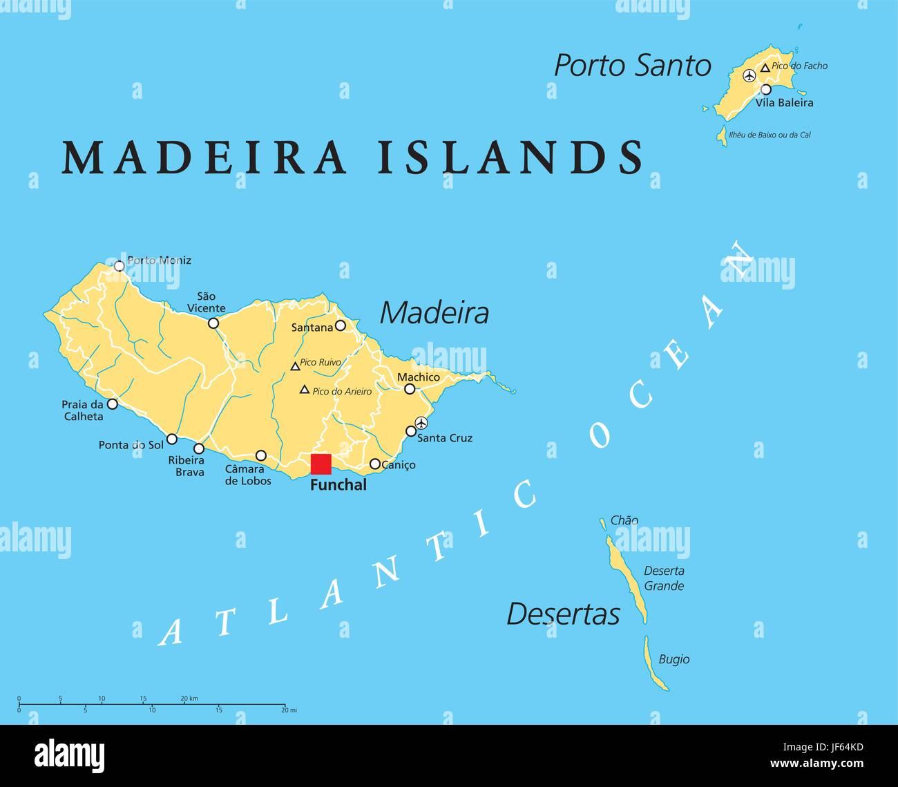 Îles Canaries, Madère, carte, atlas, carte du monde, les voyages, l'Europe, l'océan Atlantique, Illustration de Vecteur