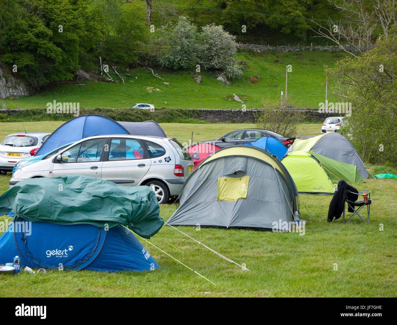 Tentes dans un camping dans le Nord du Pays de Galles, Royaume-Uni. Photo Stock