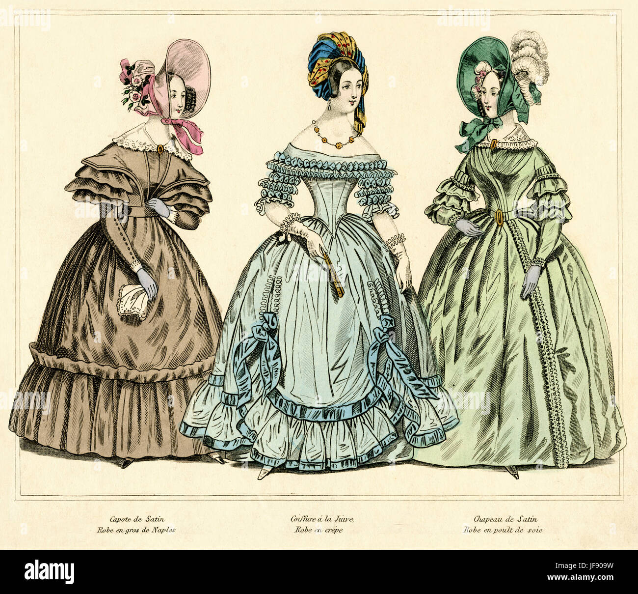 La mode française à partir de 1837 illustration colorée à la main. De g à d : bonnet Photo Stock