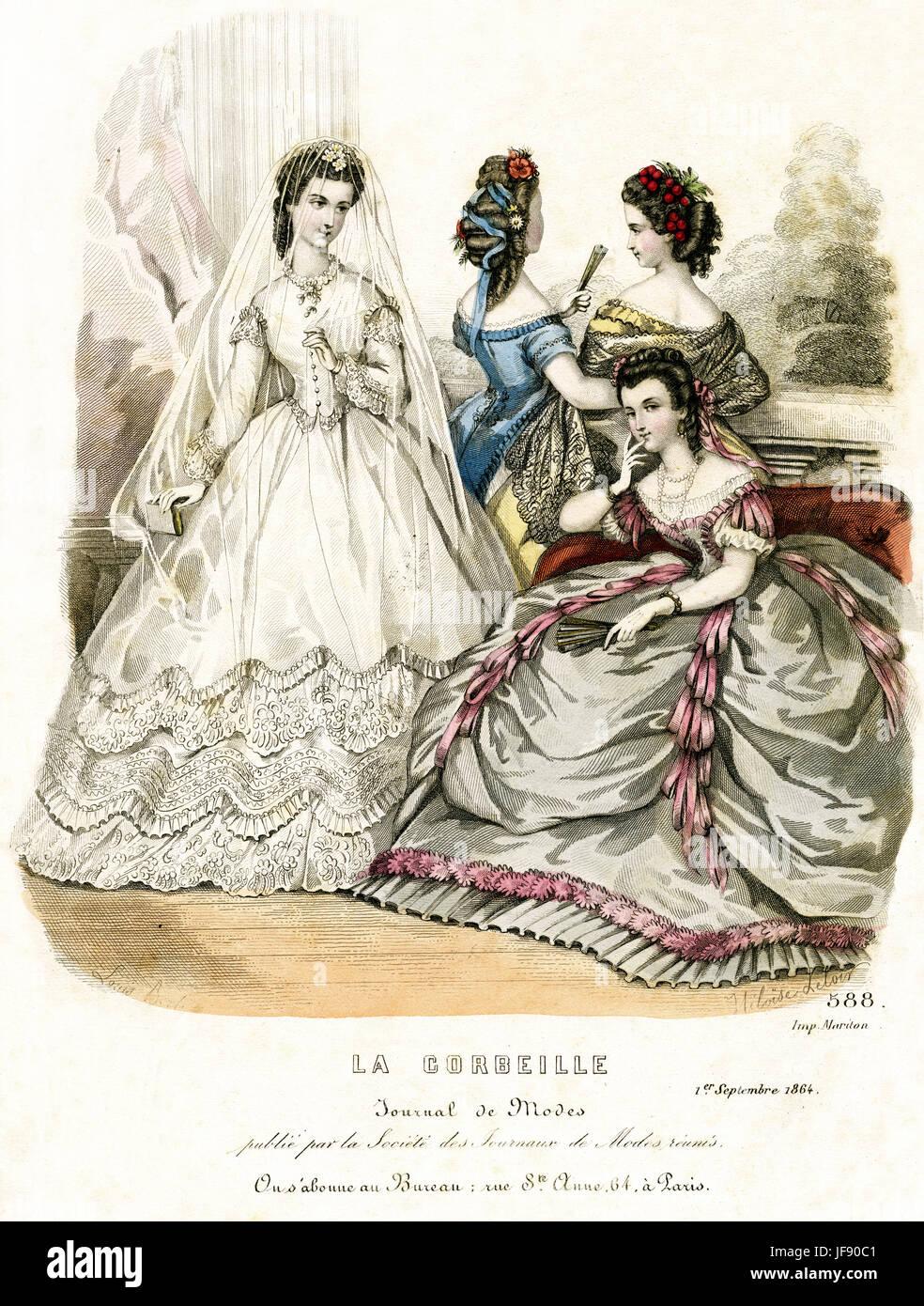 La mode nuptiale, 1864. Mariée de porter une robe de mariage jupe crinoline, sur une robe, corsage ajusté, Photo Stock