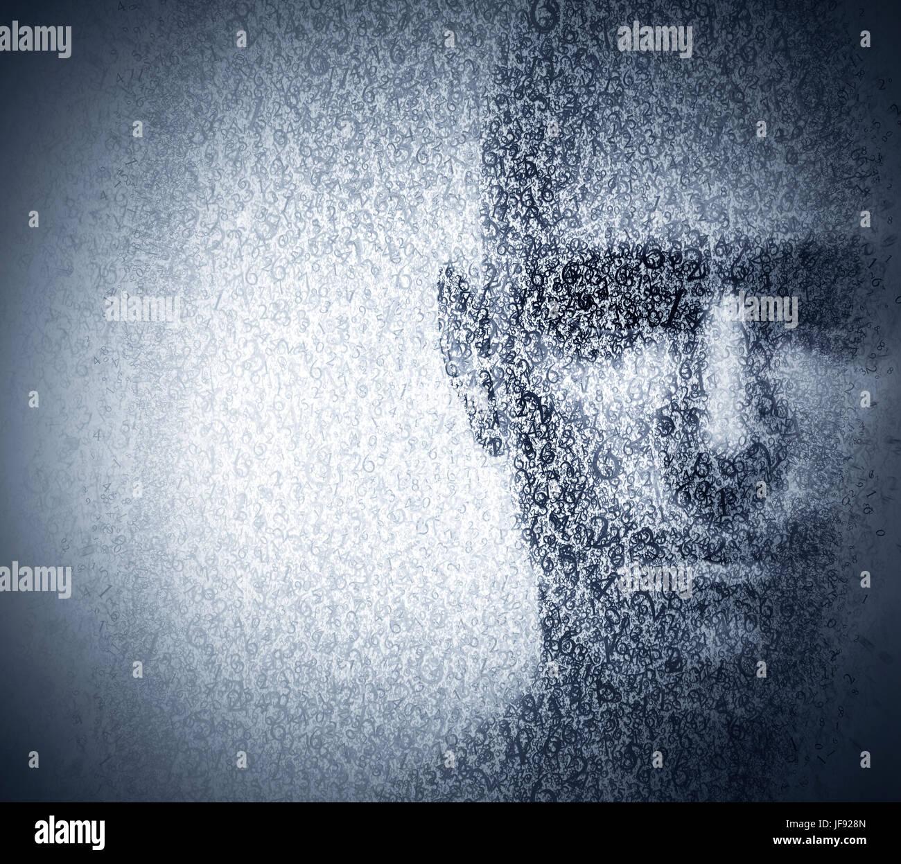 Visage Homme mélangé avec chiffres de code binaire. Concept de hacker, codage, programmation, la protection Photo Stock