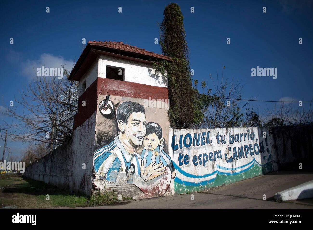 Rosario en argentine 29 juin 2017 image prise le 29 juin 2017 montre la vue dune peinture murale en lhonneur de lionel messi près de la maison où le