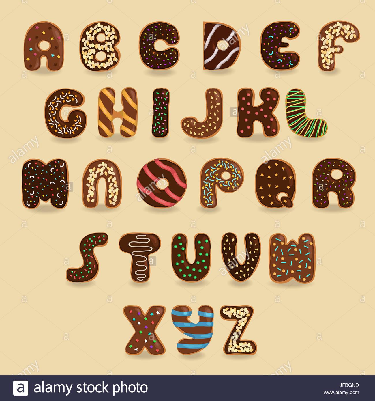 Alphabet Artistique beignes au chocolat font. alphabet artistique banque d'images, photo