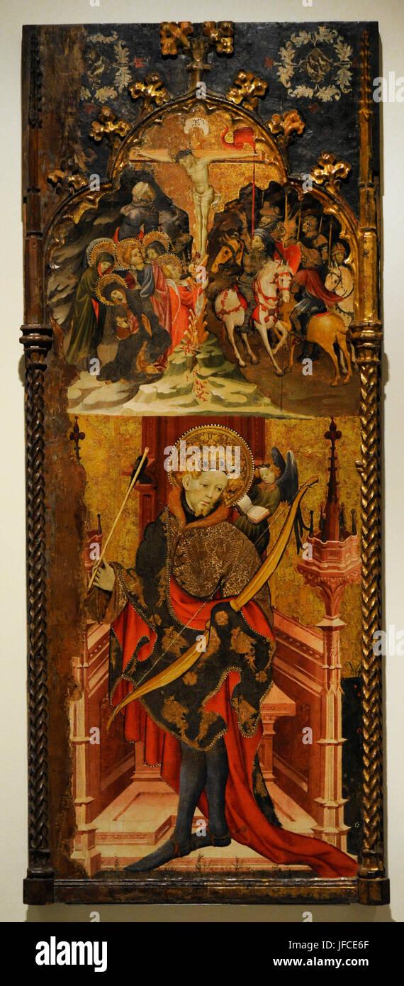 Joan Mates (ca.1370-1431). La peinture espagnole. Calvaire et Saint Sébastien, 1417-1425. Panneau central du Photo Stock