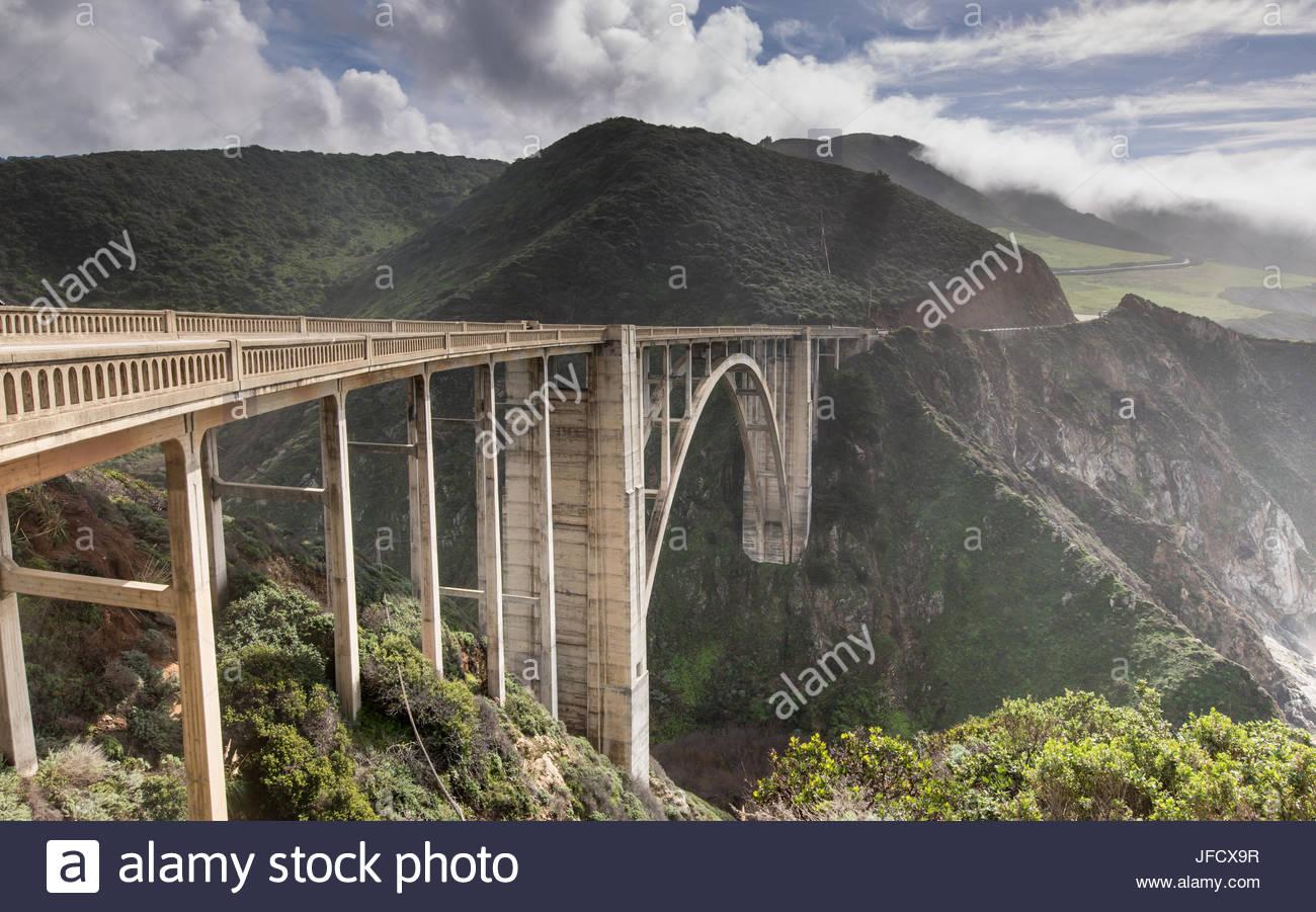 Bixby Creek Bridge après la tempête Photo Stock