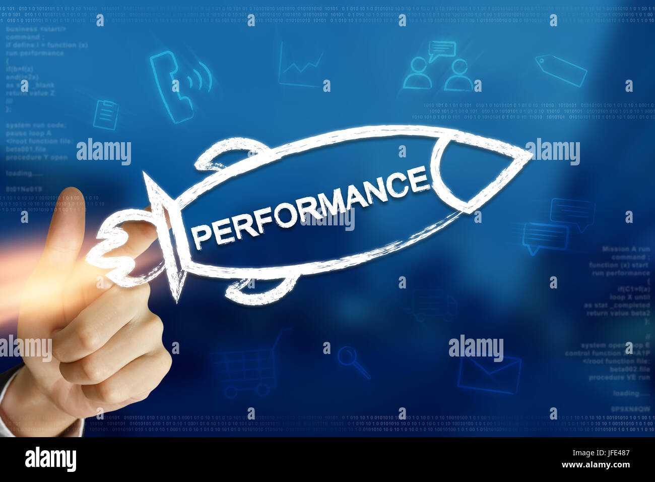 La main d'affaires performances fusée avec arrière-plan flou Photo Stock