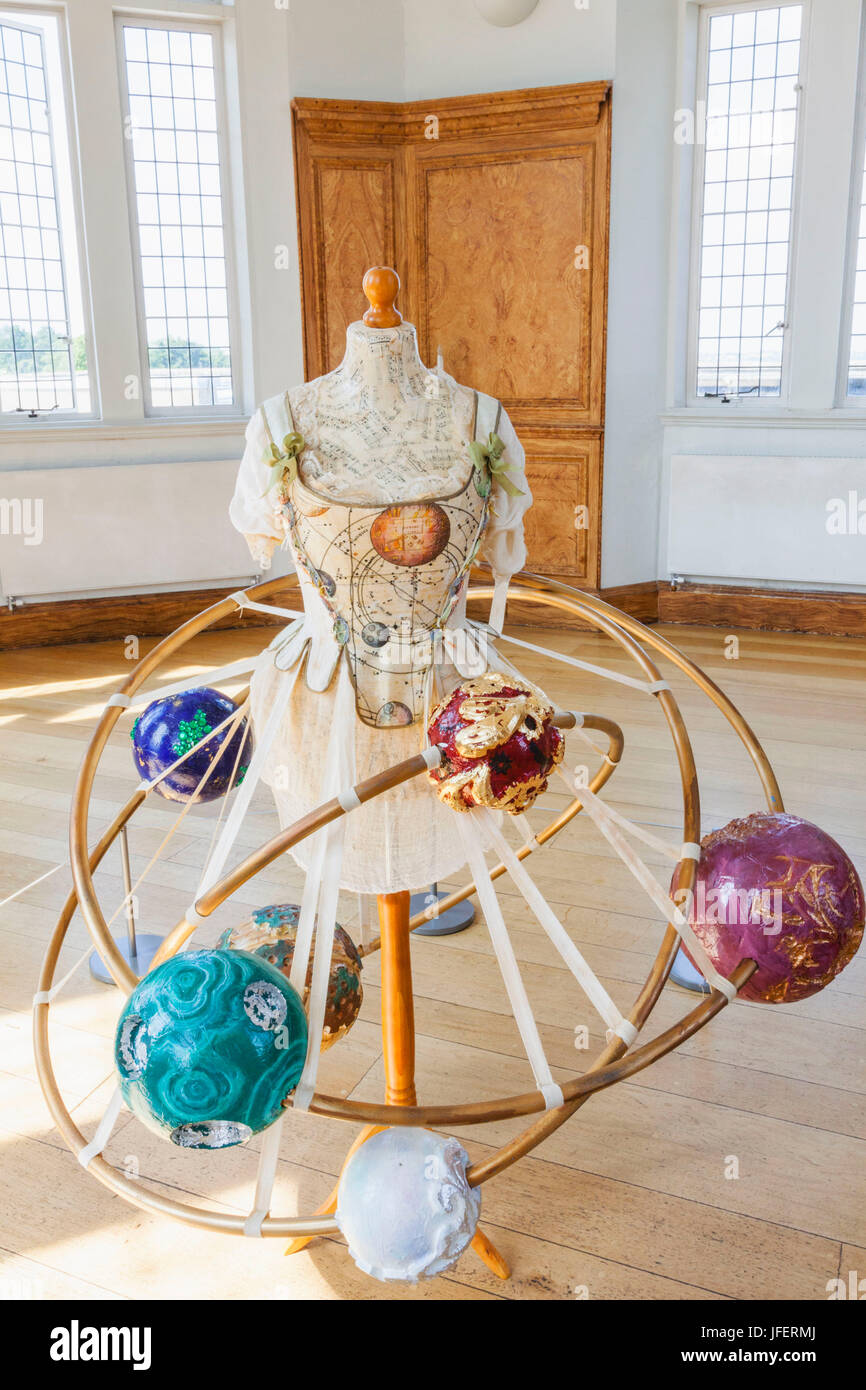 L'Angleterre, Londres, Greenwich, l'Observatoire Royal, Flamsteed House, salle octogonale, jaquette d'Orrery Photo Stock