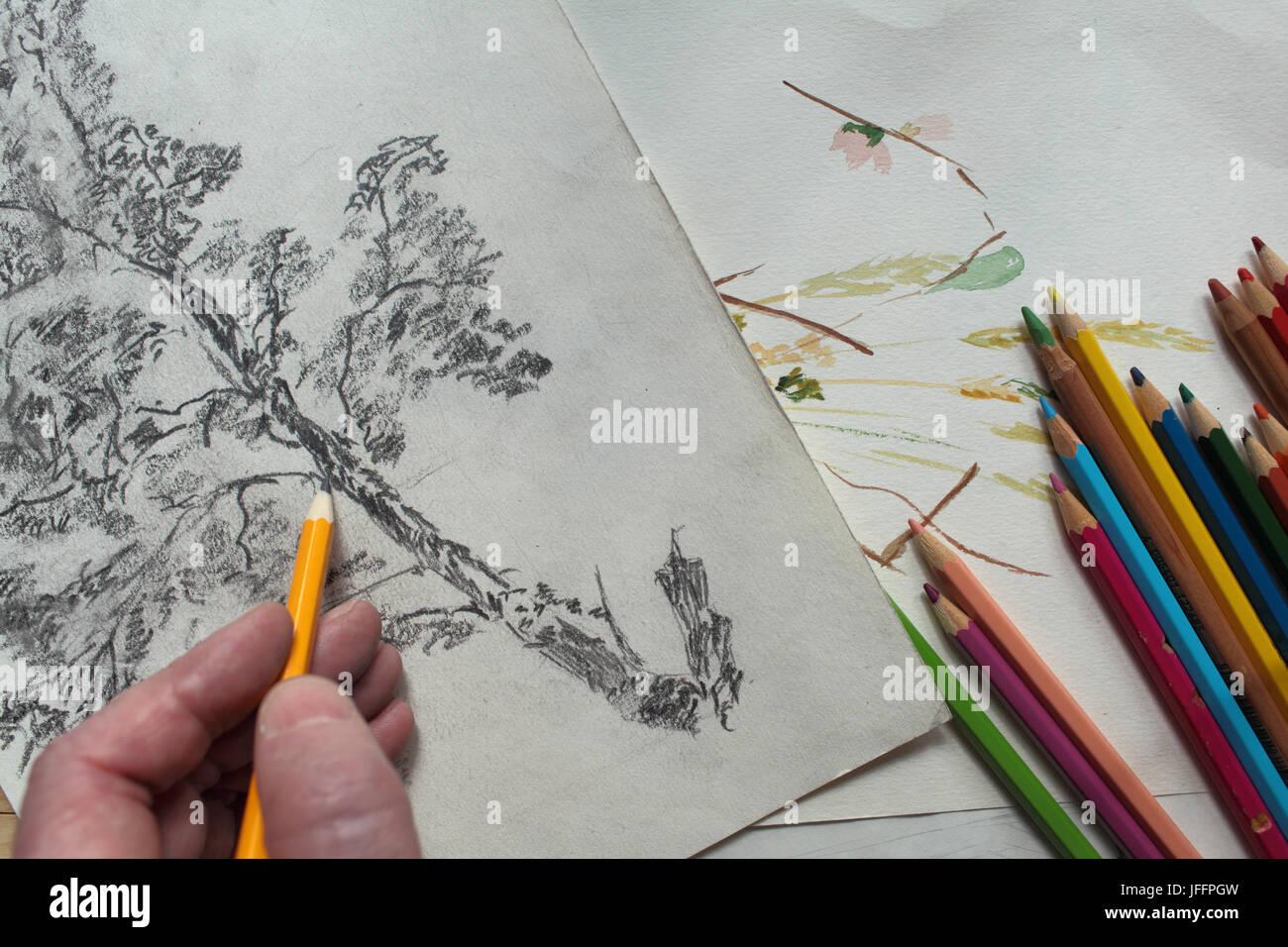 Tenir la main créative Dessin au Crayon Banque D'Images