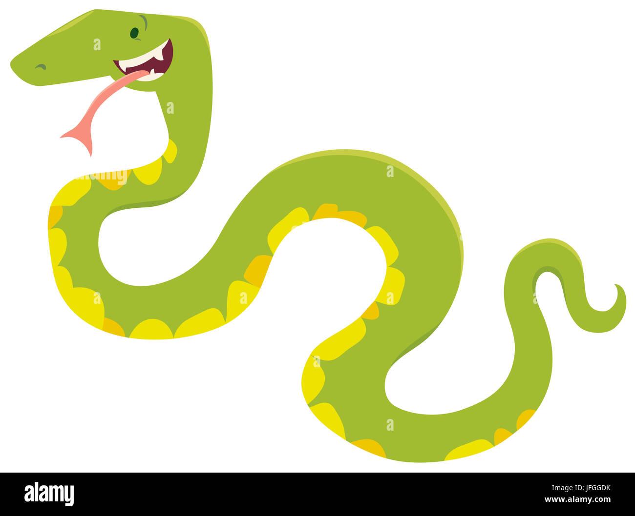 Dessin Animé Serpent personnage animal serpent dessin animé banque d'images, photo stock