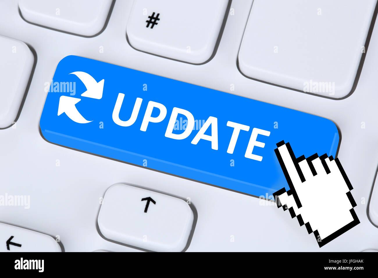 Mise à jour du logiciel informatique Virus Schutz vor aktualisieren Photo Stock